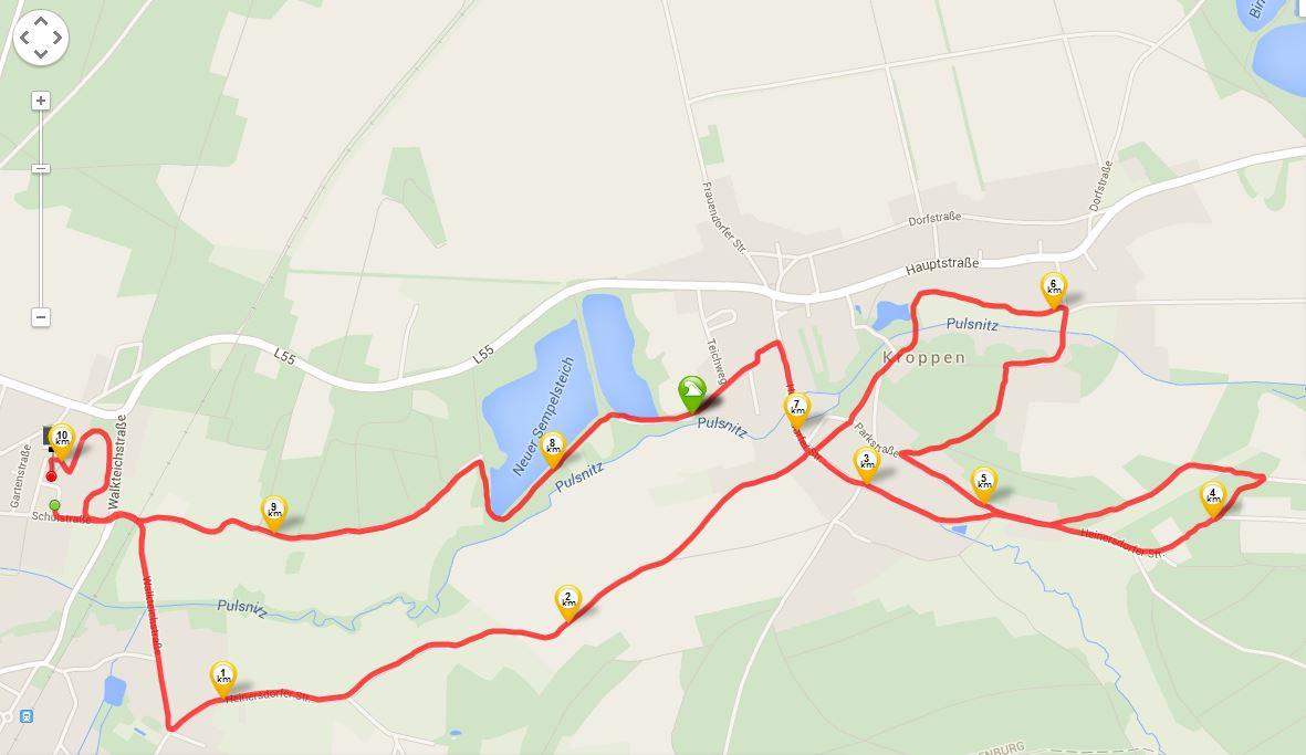 10 km-Strecke Quelle: runtastic