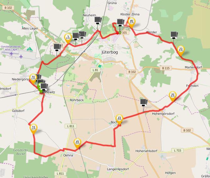 Fläming Skate Rundkurs 4, Quelle: runtastic, Open Street Map