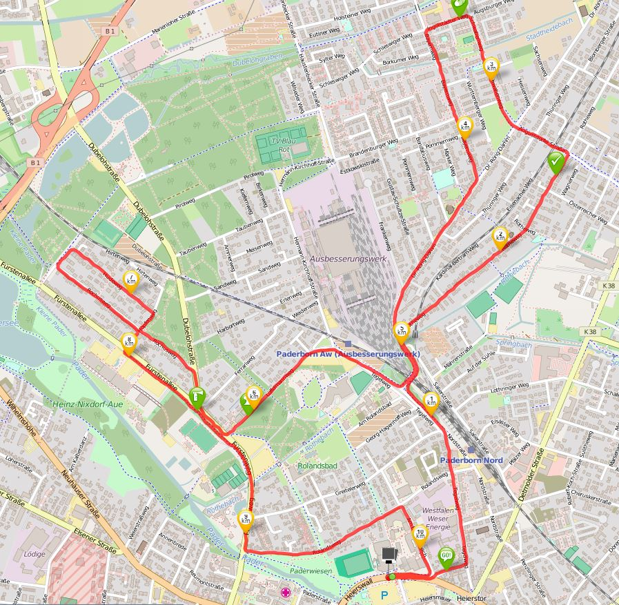 10 km, Quelle: runtastic, OSM